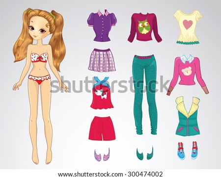 Paper doll of a young beautiful teenager girl and clothes for her - stock vector