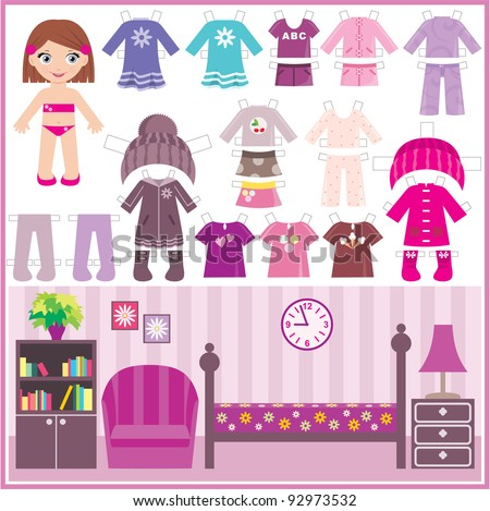 Paper doll with a set of clothes and a room. vector - stock vector