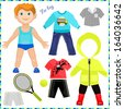 Paper doll with a set of clothes. Cute trendy boy. Template for cutting. - stock photo