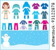 Paper doll with a set of winter clothes. vector - stock vector