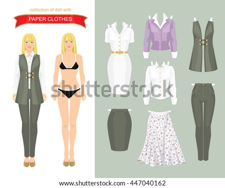 paper doll template woman - women dress code set woman office stock vector 414373069