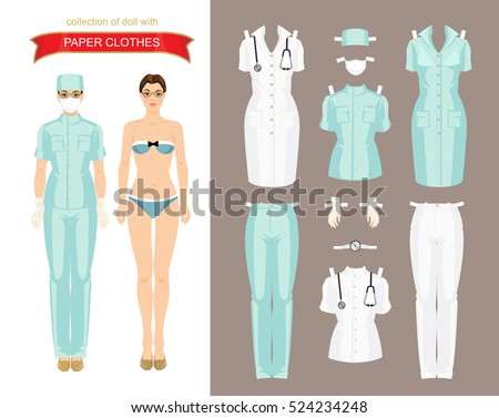 Paper doll clothes doctor surgeon nurse stock vector 524234248 paper doll with clothes for doctor surgeon or nurse body template vector illustration pronofoot35fo Gallery