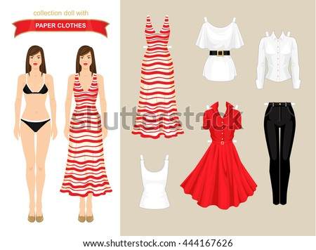 Paper doll stock images royalty free images vectors shutterstock paper doll with clothes for summer holiday body template pronofoot35fo Gallery