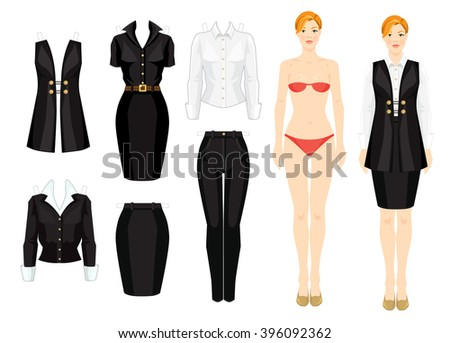 paper doll template woman - paper doll clothes office holiday body stock vector
