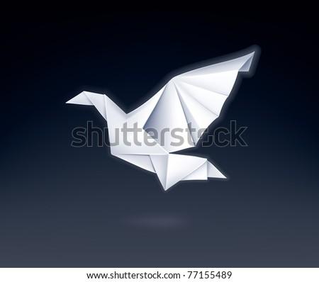 Paper Dove, vector - stock vector