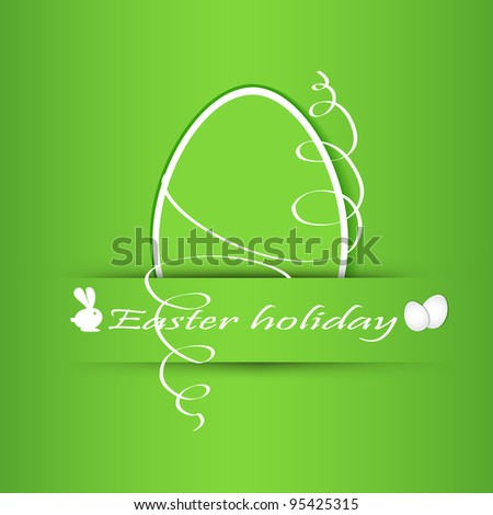 Paper easter egg sticker on red background - stock vector