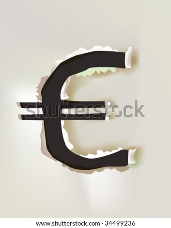 paper euro sign - stock vector