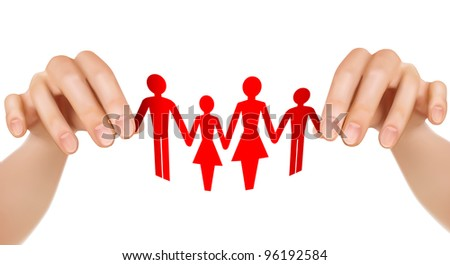 Paper family in hands. Vector illustration. - stock vector