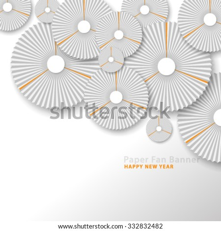 Paper Fan New Year Design Background - stock vector