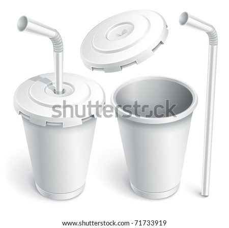 paper fast food cup with tube. Vector illustration isolated on white background - stock vector