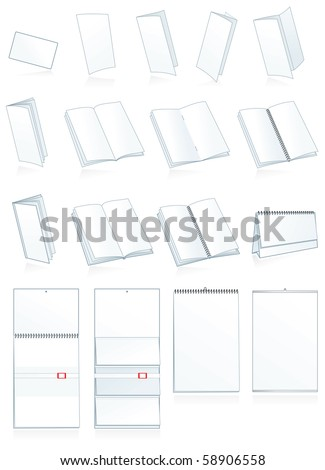 Paper finishing and bookbinding production. Leaflets, business cards, booklets, brochures, calendars, advertising materials - stock vector
