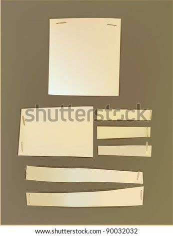 Paper fixed with staplers - stock vector