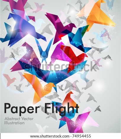Paper Flight. Origami Birds. Abstract  Vector Illustration. EPS10. - stock vector