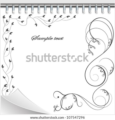 Paper, floral ornament.Vector background