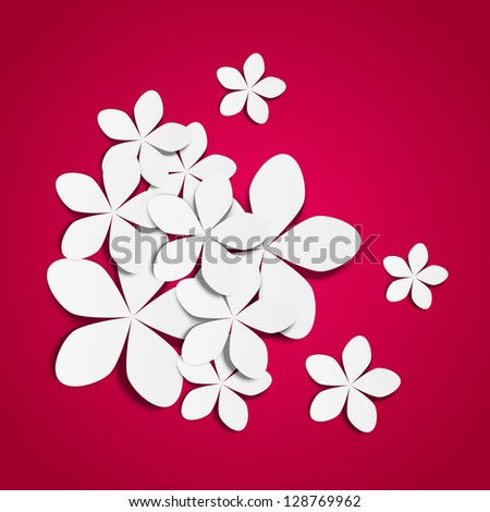 Paper flowers on pink background - stock vector