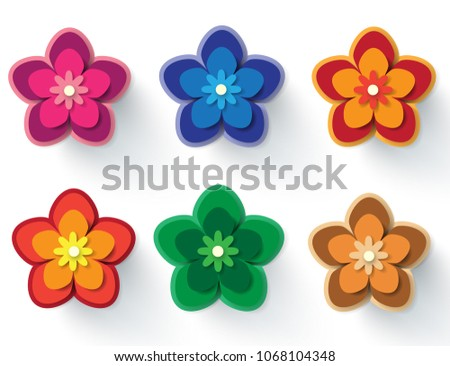 Paper flowers vector set simple colorful stock vector 1068104348 paper flowers vector set of simple colorful paper cut flowers isolated on a white mightylinksfo