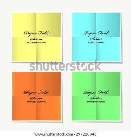 Paper fold collection with colour variations and drop shadow - stock vector