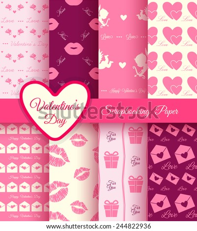 Paper for scrapbook. Set of vector Valentines day pattern  - stock vector