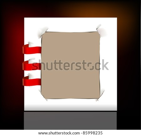Paper frame with ribbons - stock vector