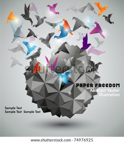 Paper Freedom, Origami abstract vector illustration. - stock vector