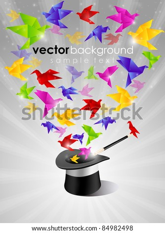 Paper Freedom Origami With Magic Heat - stock vector