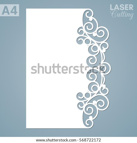 Paper Greeting Card With Lace Border. Cut Out Template For Cutting.  Suitable For Laser