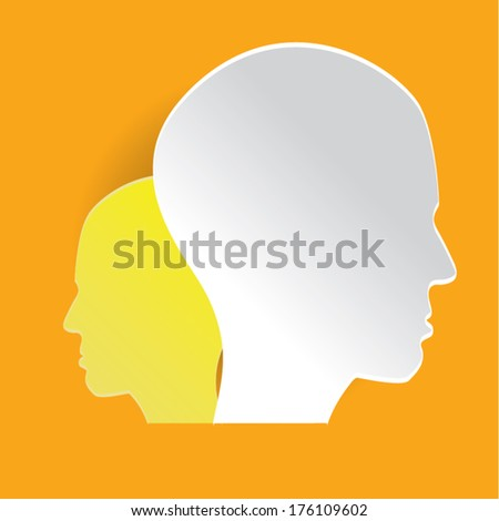 paper head orange background colorful.can be use as flyer, banner or poster.vector illustration