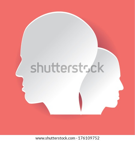 paper head red background colorful.can be use as flyer, banner or poster.vector illustration
