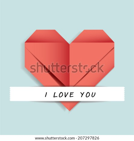 paper heart fold valentine's day - stock vector