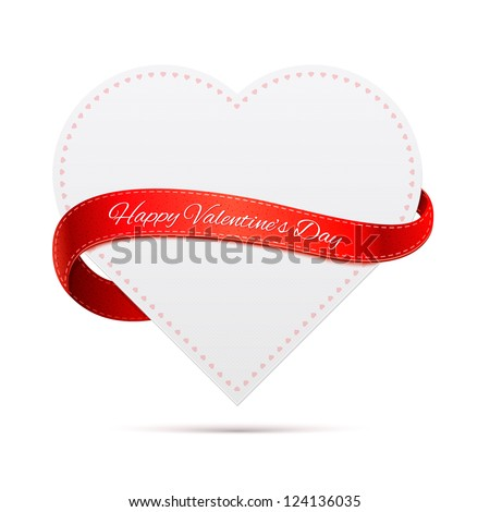 Paper heart with red ribbon and shadow. Valentine's day.