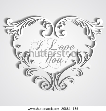 Paper heart with shadow . Happy Valentines Day card. Trendy Design Template. vector illustration  - stock vector