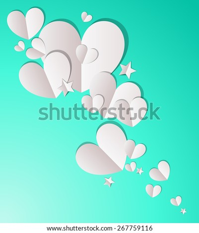 Paper Hearts and Stars - stock vector