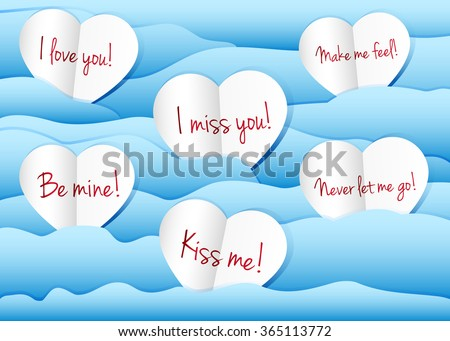 Paper hearts background. I love you, I miss you, Make me feel, Be mine, Kiss me, Never let me go. Vector illustration. - stock vector
