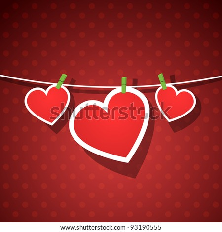 Paper hearts hanging from a rope, on red wallpaper. Part of Valentines day set. Vector art. - stock vector