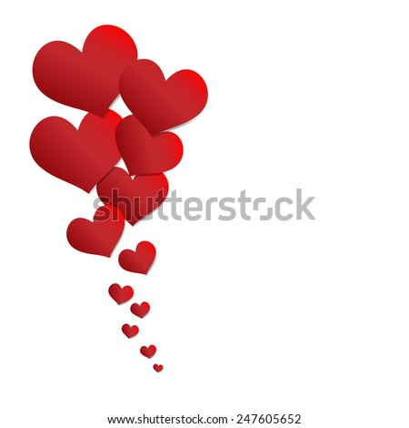 paper hearts Valentines day card - stock vector