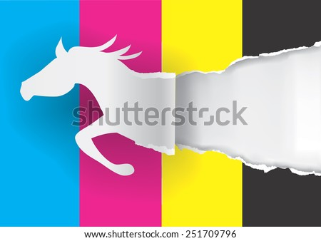 Horse Silhouette Ripping Orange Paper Paper Stock Vector
