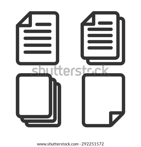 Paper icon, Document icon, Vector EPS10  - stock vector