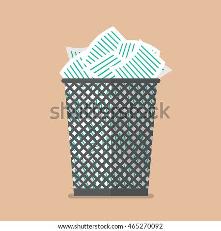 Paper in the trash can. Flat style vector illustration