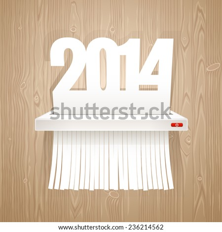 Paper 2014 is Cut into Shredder. - stock vector