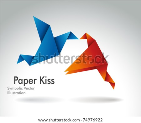 Paper Kiss, Origami symbolic vector illustration. - stock vector