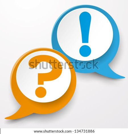 Paper labels with question and exclamation mark. - stock vector