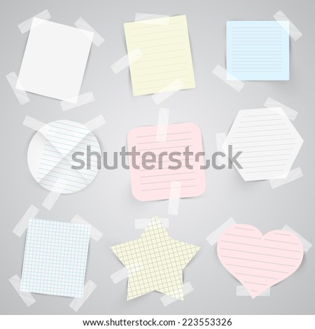 Paper labels with sellotape, vector  - stock vector