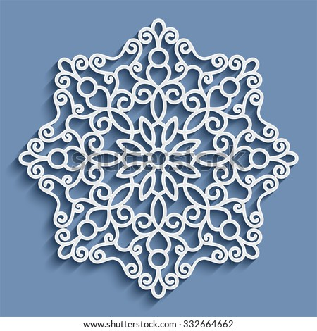 Paper lace doily, decorative snowflake, mandala, round crochet ornament, vector eps10 - stock vector