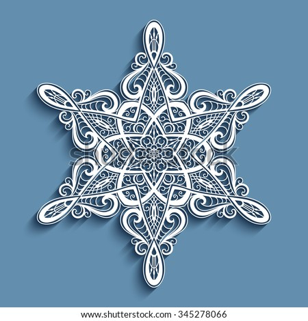 Paper lace doily, decorative snowflake, mandala, round lacy ornament, vector eps10 - stock vector