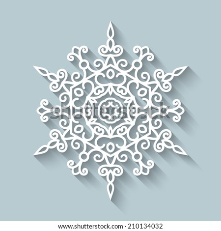 Paper lace doily, decorative vector snowflake, round crochet ornament, eps10 - stock vector