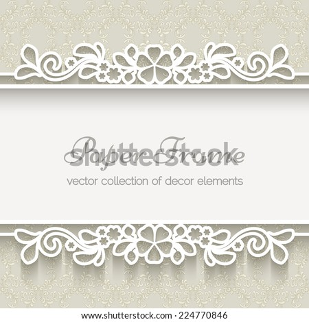 Paper lace frame over ornamental beige background, vector eps10 - stock vector