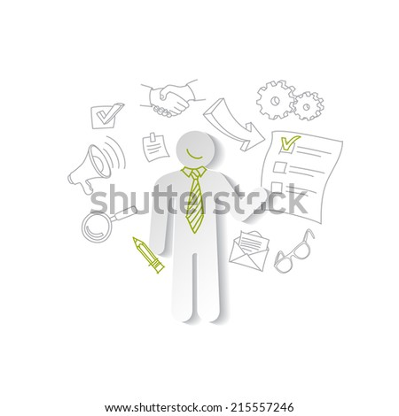 Paper man and cheking list. Business concept. - stock vector