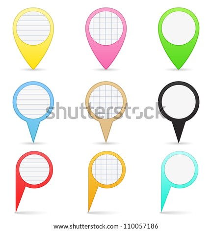 Paper map markers, vector eps10 illustration - stock vector