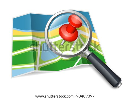Paper map with magnifying glass. Vector illustration - stock vector