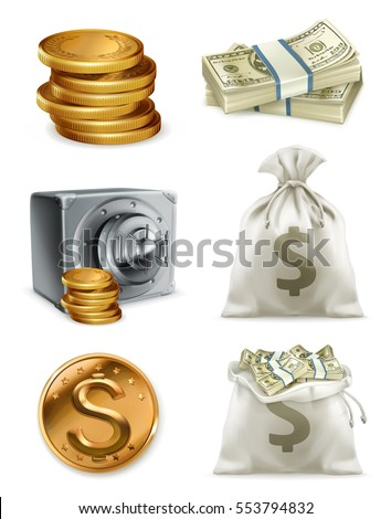 Paper money, gold coin and moneybag. 3d vector icon set